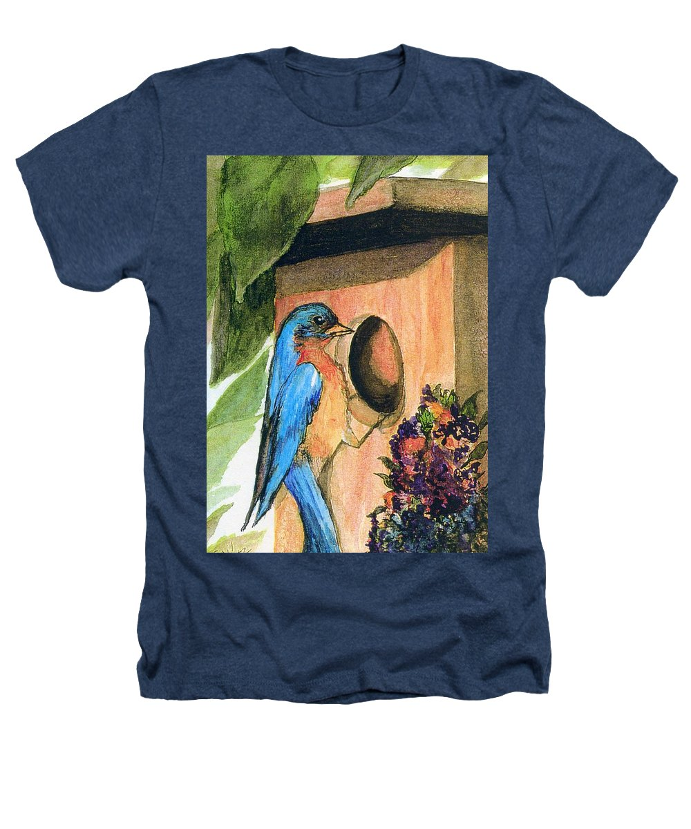 Bluebirds Heathers T-Shirt featuring the painting Home Sweet Home by Gail Kirtz