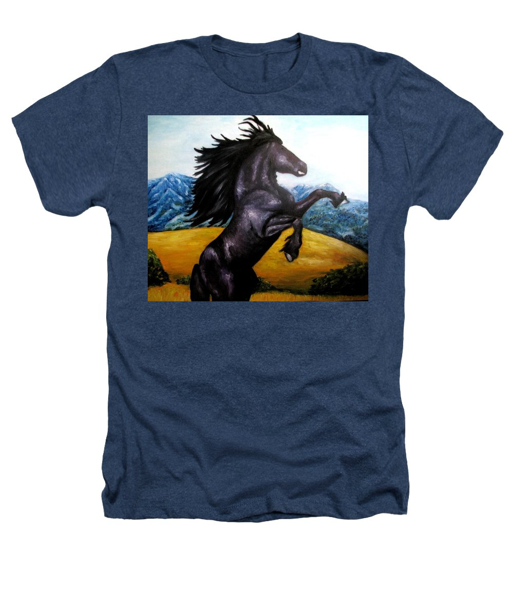 Horse Heathers T-Shirt featuring the painting Horse Oil Painting by Natalja Picugina