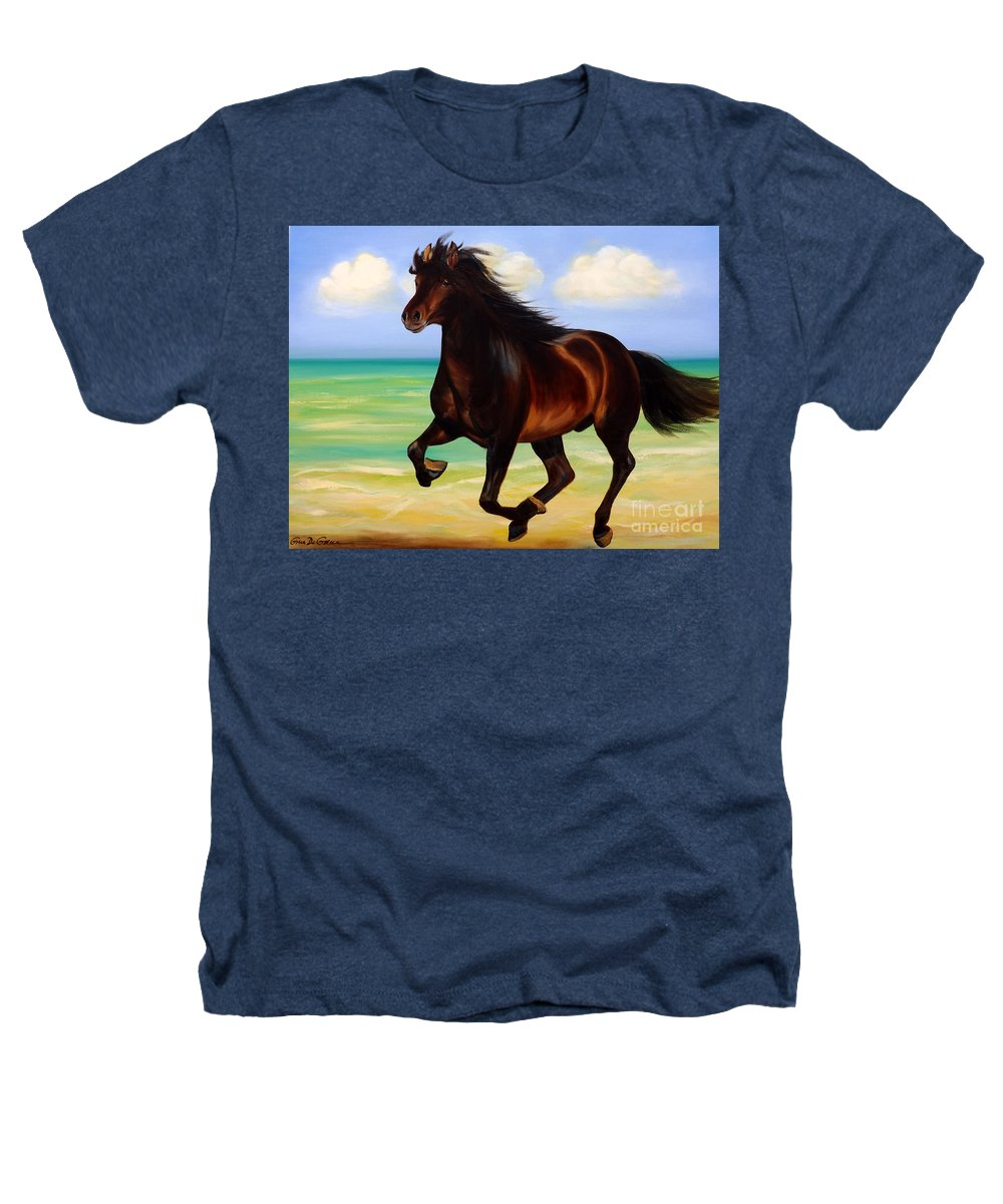 Horses Heathers T-Shirt featuring the painting Horses In Paradise Run by Gina De Gorna