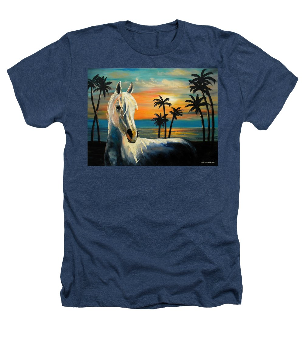 Horse Heathers T-Shirt featuring the painting Horses In Paradise Tell Me Your Dream by Gina De Gorna