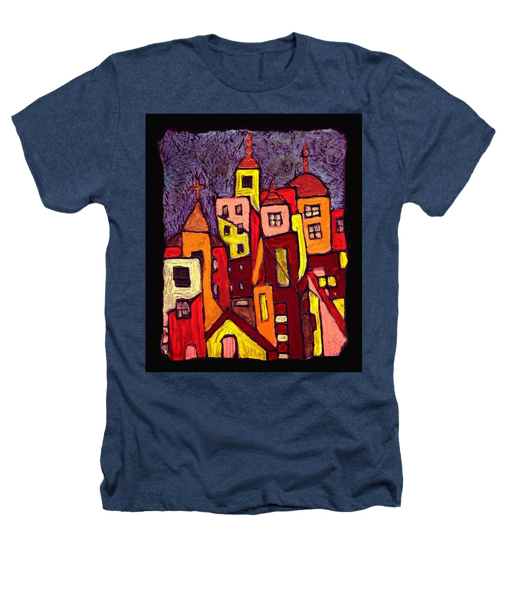 City Scapes Heathers T-Shirt featuring the painting Hot Night In The City by Wayne Potrafka