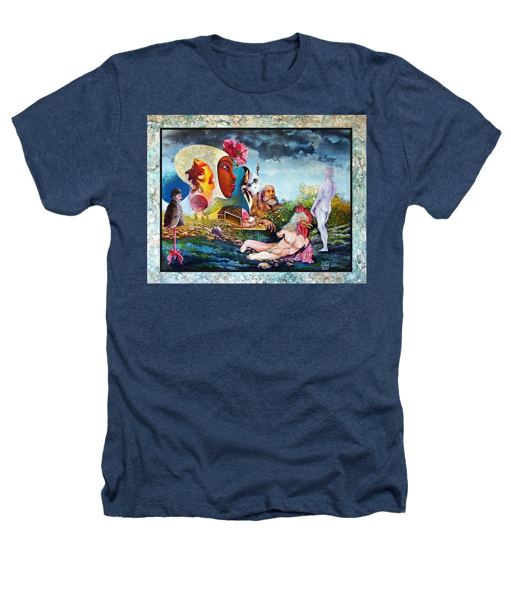 Surrealism Heathers T-Shirt featuring the mixed media Hour Of The Cock by Otto Rapp