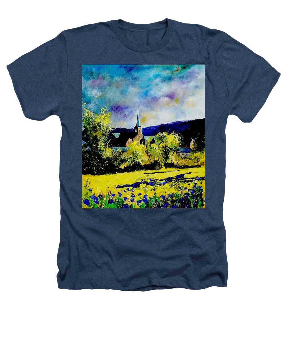 Poppies Heathers T-Shirt featuring the painting Hour Village Belgium by Pol Ledent