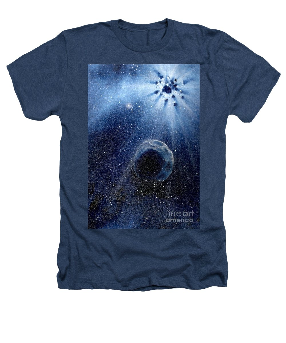 Outerspace Heathers T-Shirt featuring the painting Impressive Impact by Murphy Elliott