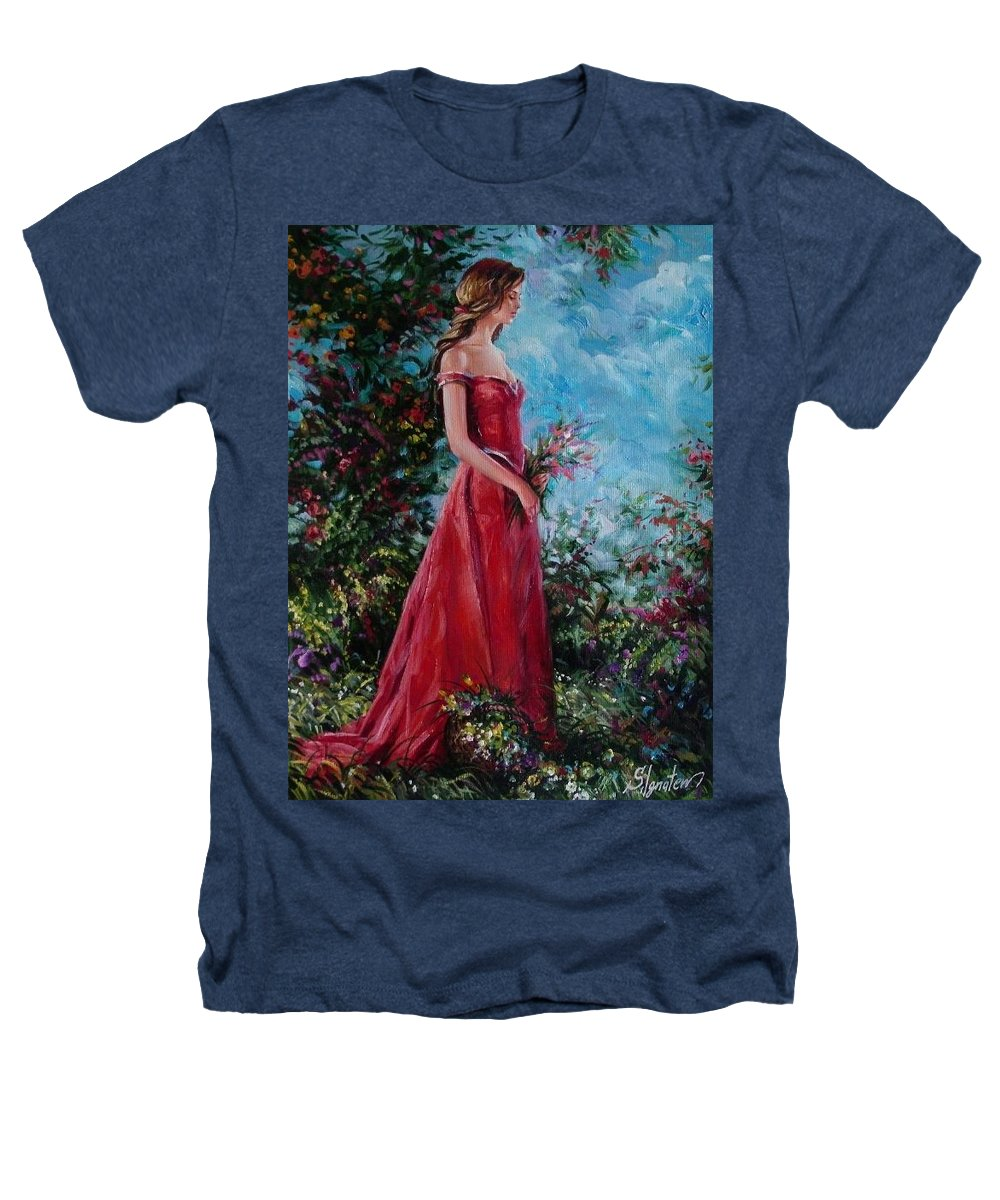 Figurative Heathers T-Shirt featuring the painting In Summer Garden by Sergey Ignatenko