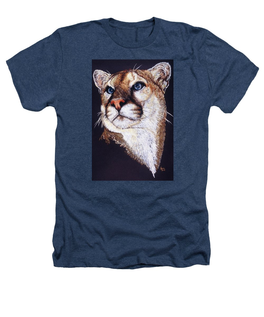 Cougar Heathers T-Shirt featuring the drawing Intense by Barbara Keith