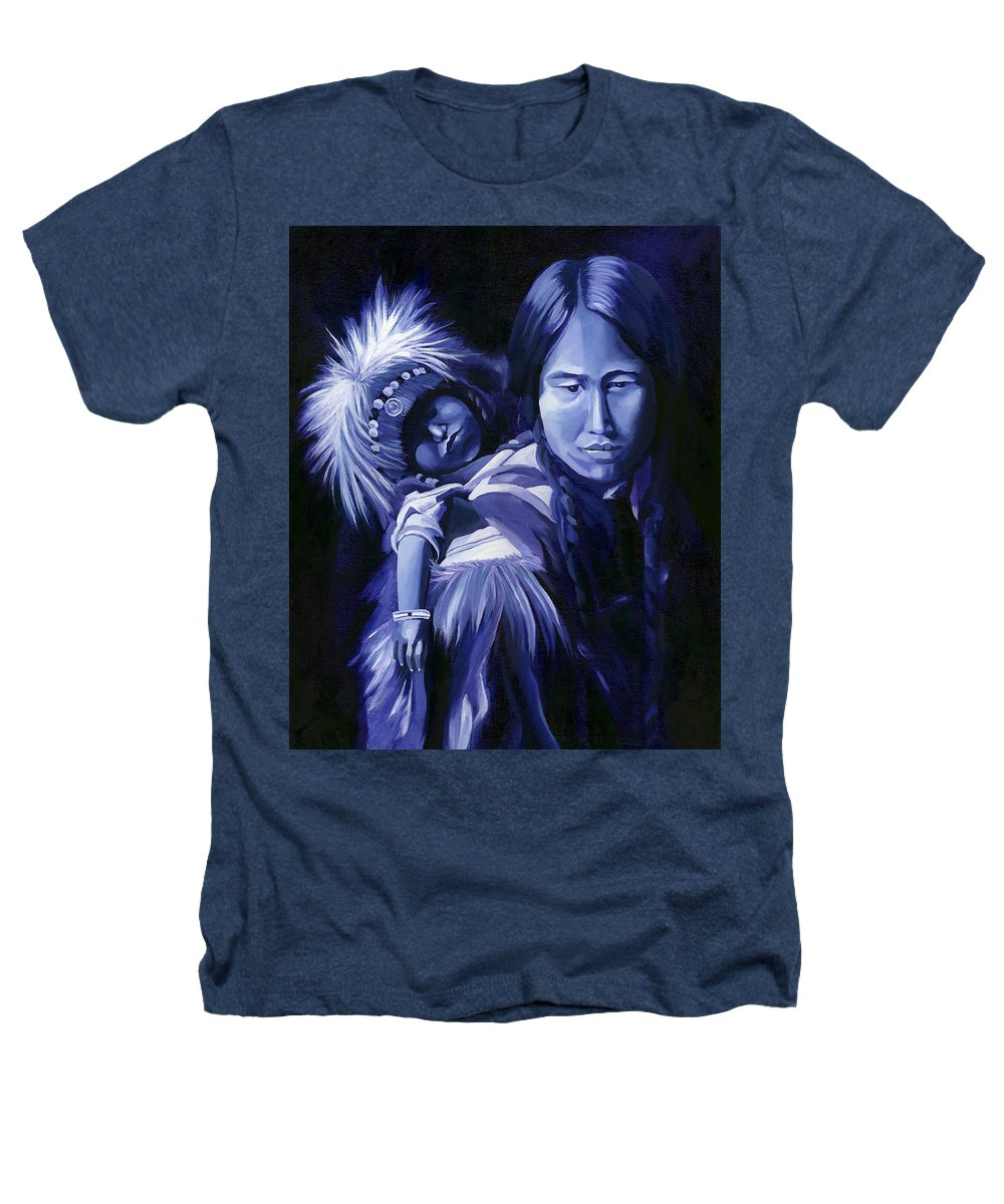 Native American Heathers T-Shirt featuring the painting Inuit Mother And Child by Nancy Griswold