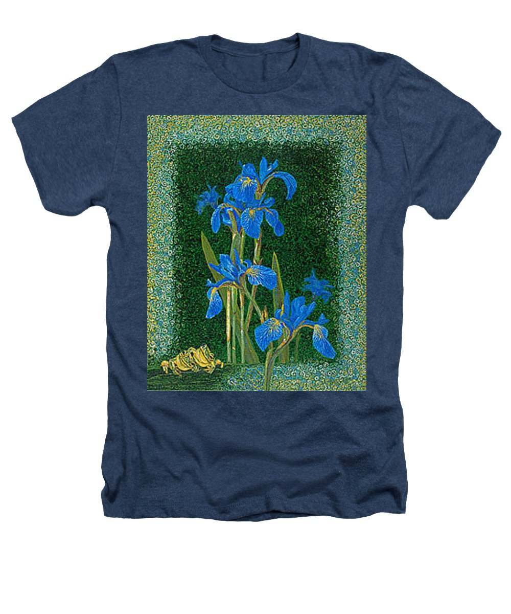Irises Heathers T-Shirt featuring the painting Irises Blue Flowers Lucky Love Frog Friends Fine Art Print Giclee High Quality Exceptional Colors by Baslee Troutman