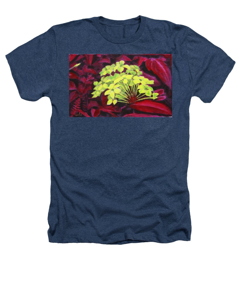 Foliage Heathers T-Shirt featuring the painting Ixora - Jungle Flame by Usha Shantharam