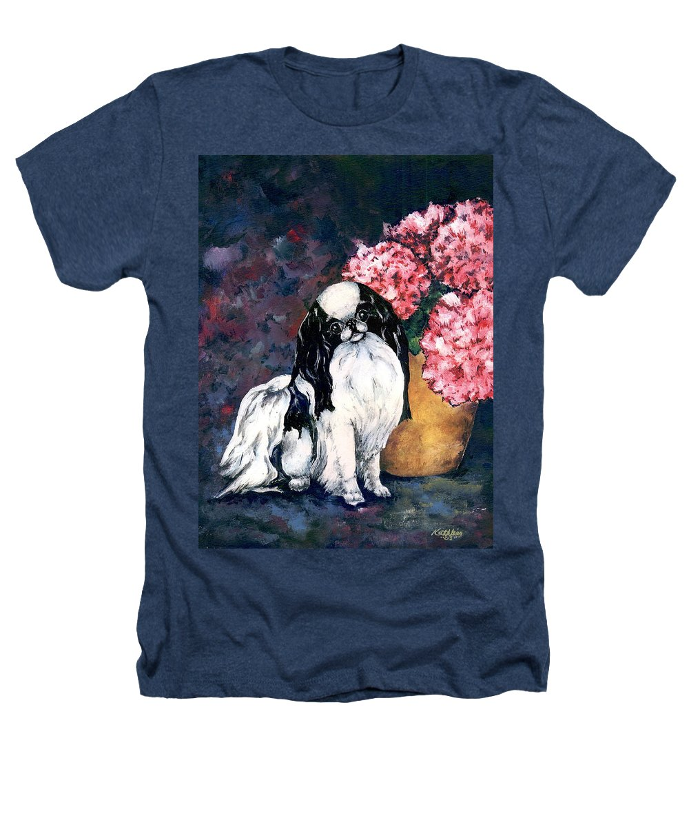 Japanese Chin Heathers T-Shirt featuring the painting Japanese Chin And Hydrangeas by Kathleen Sepulveda