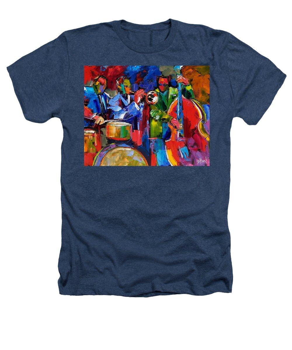 Jazz Heathers T-Shirt featuring the painting Jazz Beat by Debra Hurd