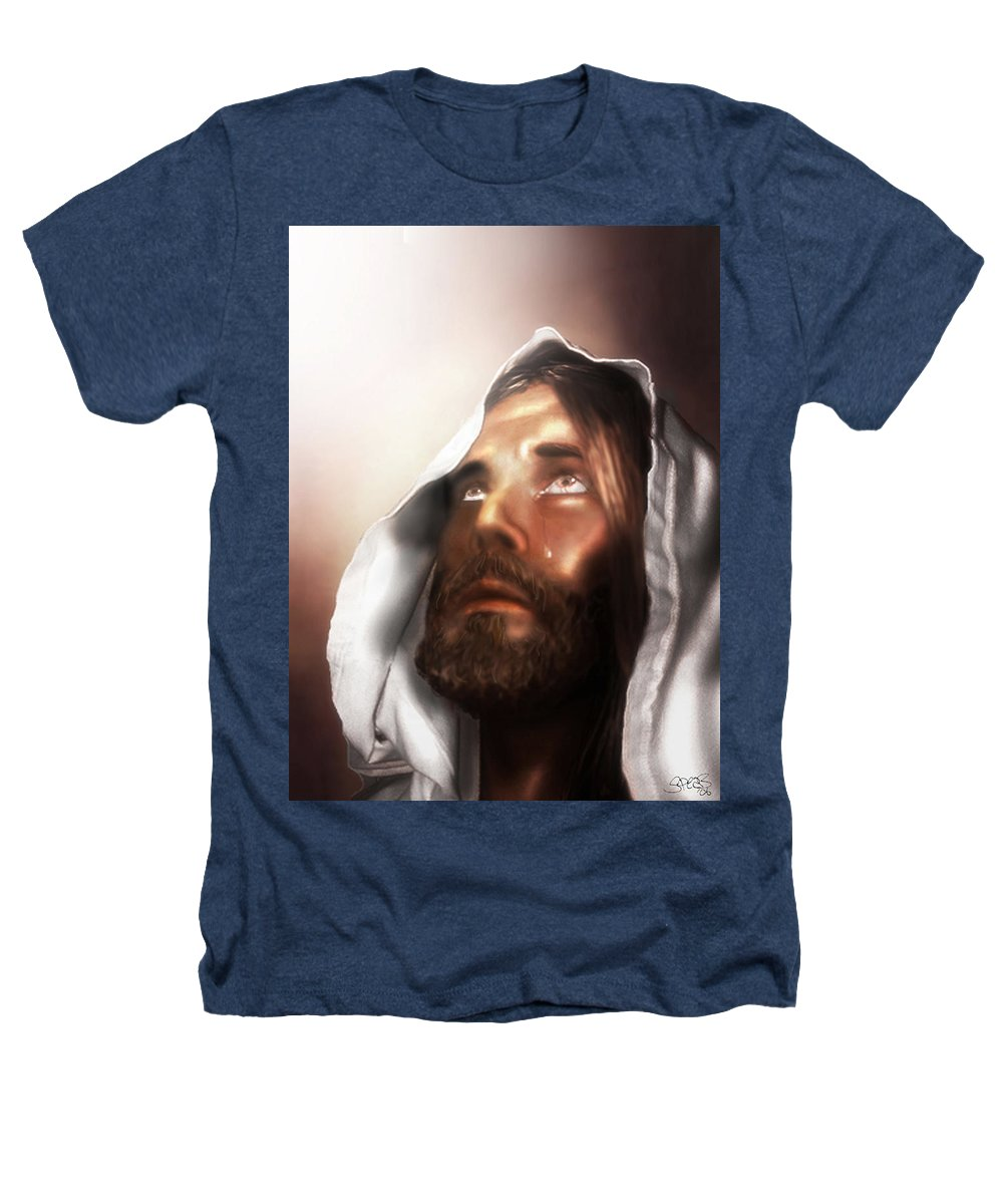 Jesus Heathers T-Shirt featuring the mixed media Jesus Wept by Mark Spears