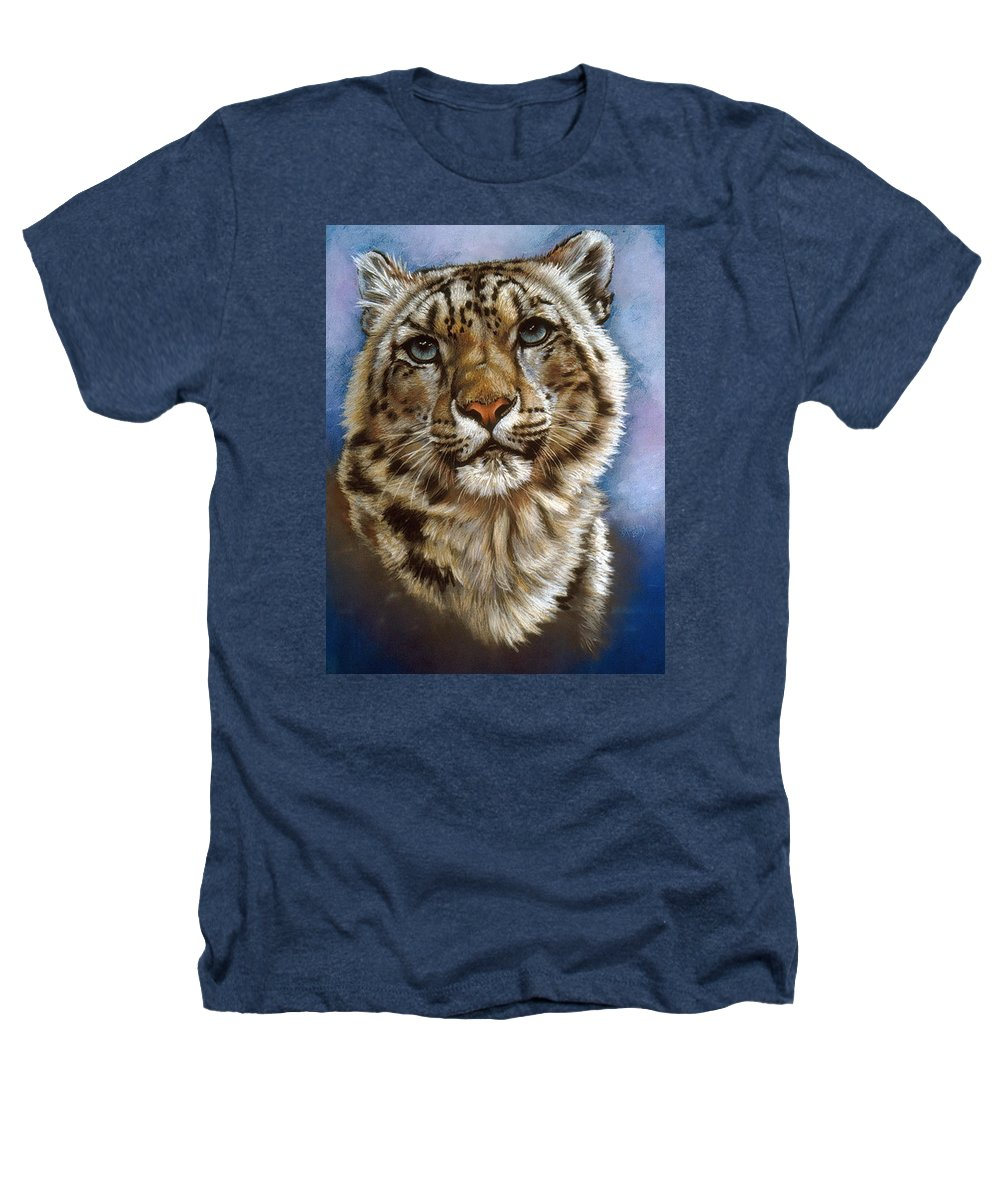 Snow Leopard Heathers T-Shirt featuring the pastel Jewel by Barbara Keith