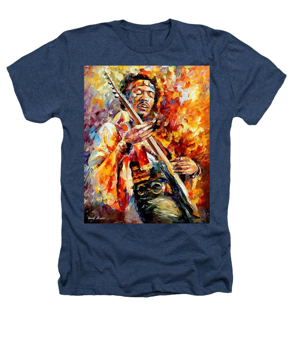 Music Heathers T-Shirt featuring the painting Jimi Hendrix by Leonid Afremov