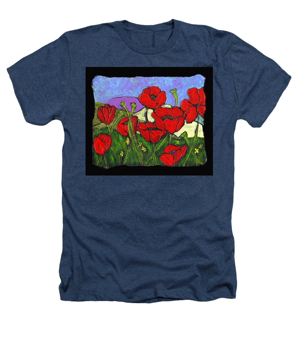 Poppies Heathers T-Shirt featuring the painting June Poppies by Wayne Potrafka