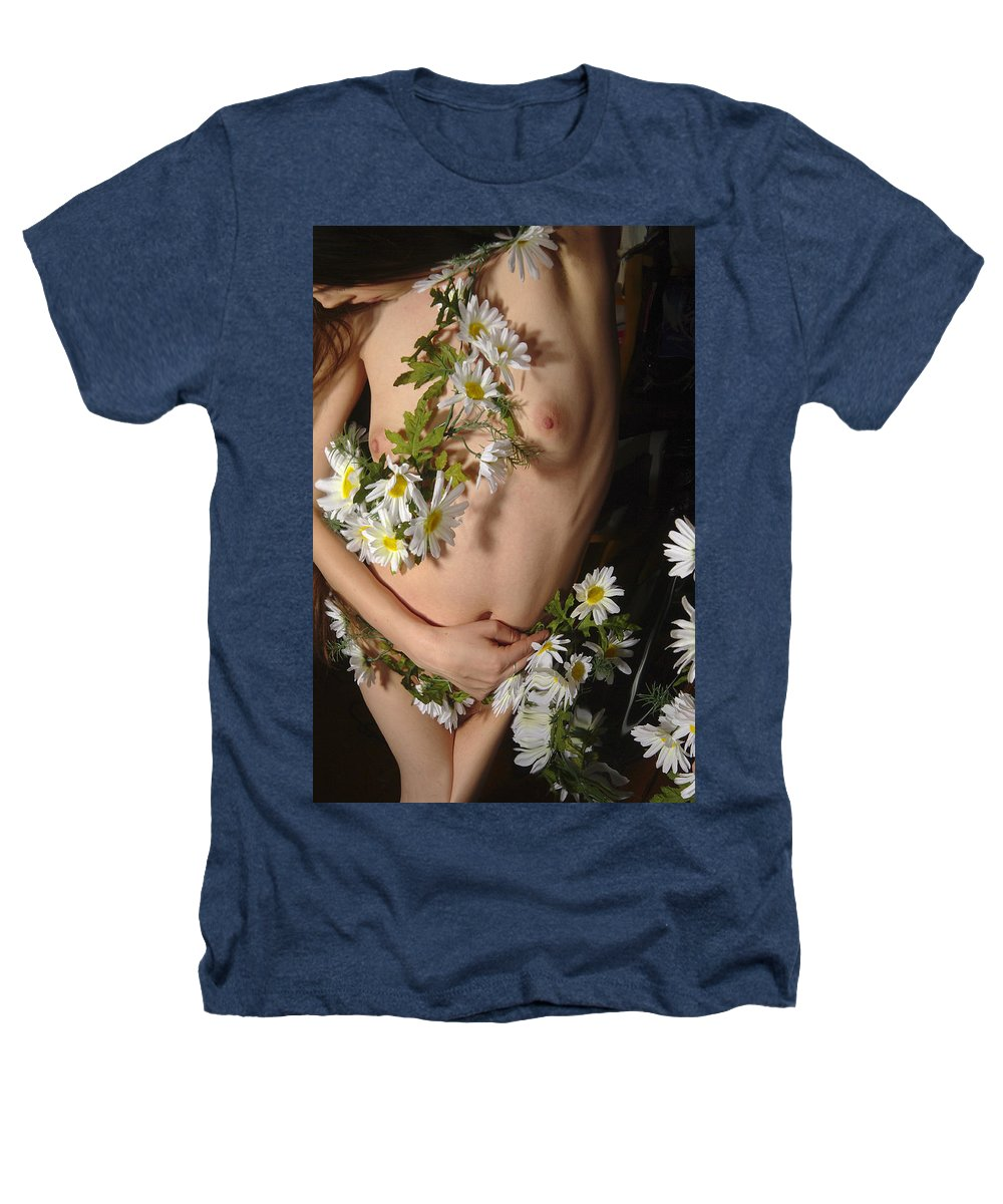 Female Nude Abstract Mirrors Flowers Heathers T-Shirt featuring the photograph Kazi0841 by Henry Butz