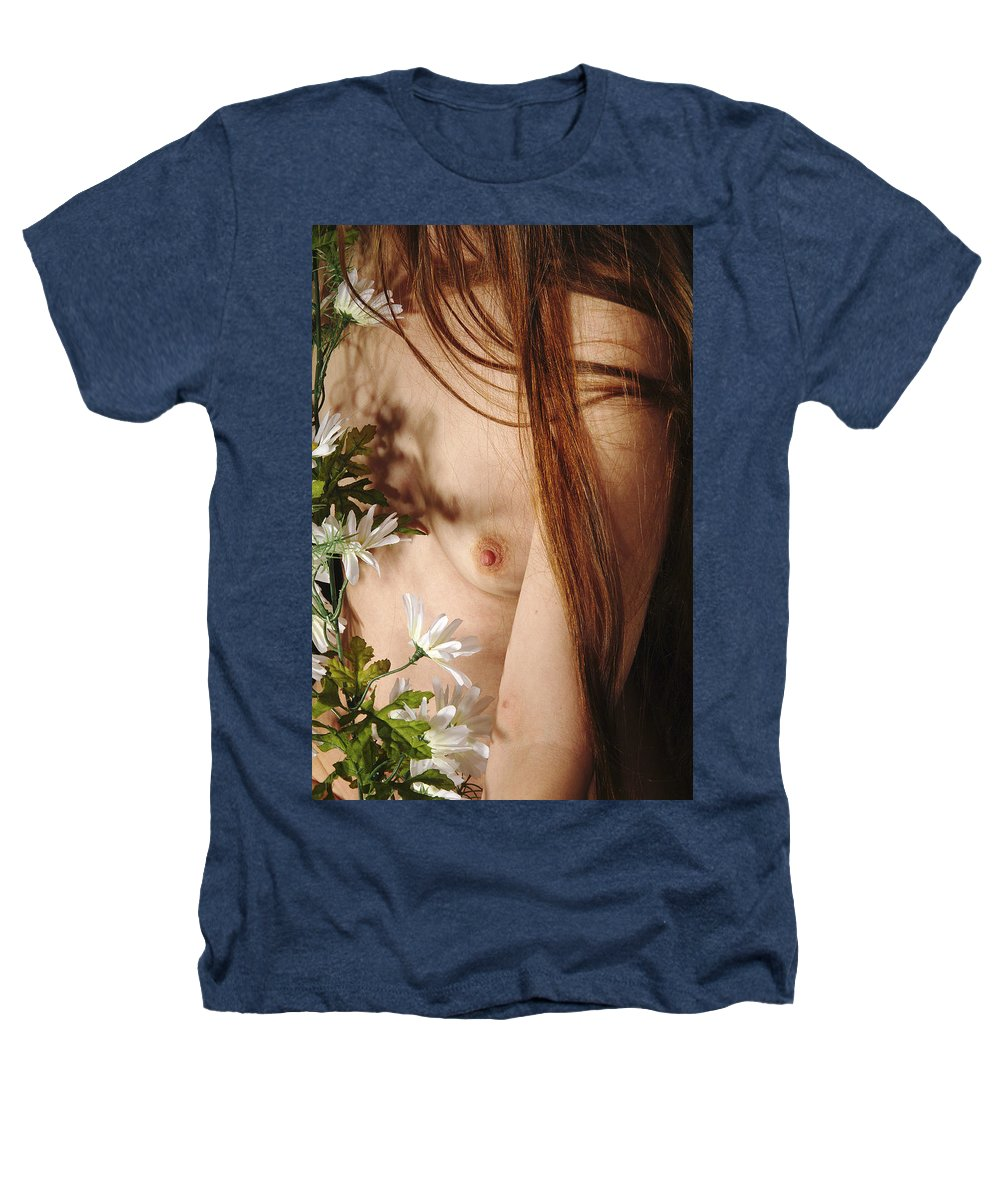 Female Nude Abstract Mirrors Flowers Heathers T-Shirt featuring the photograph Kazi1141 by Henry Butz