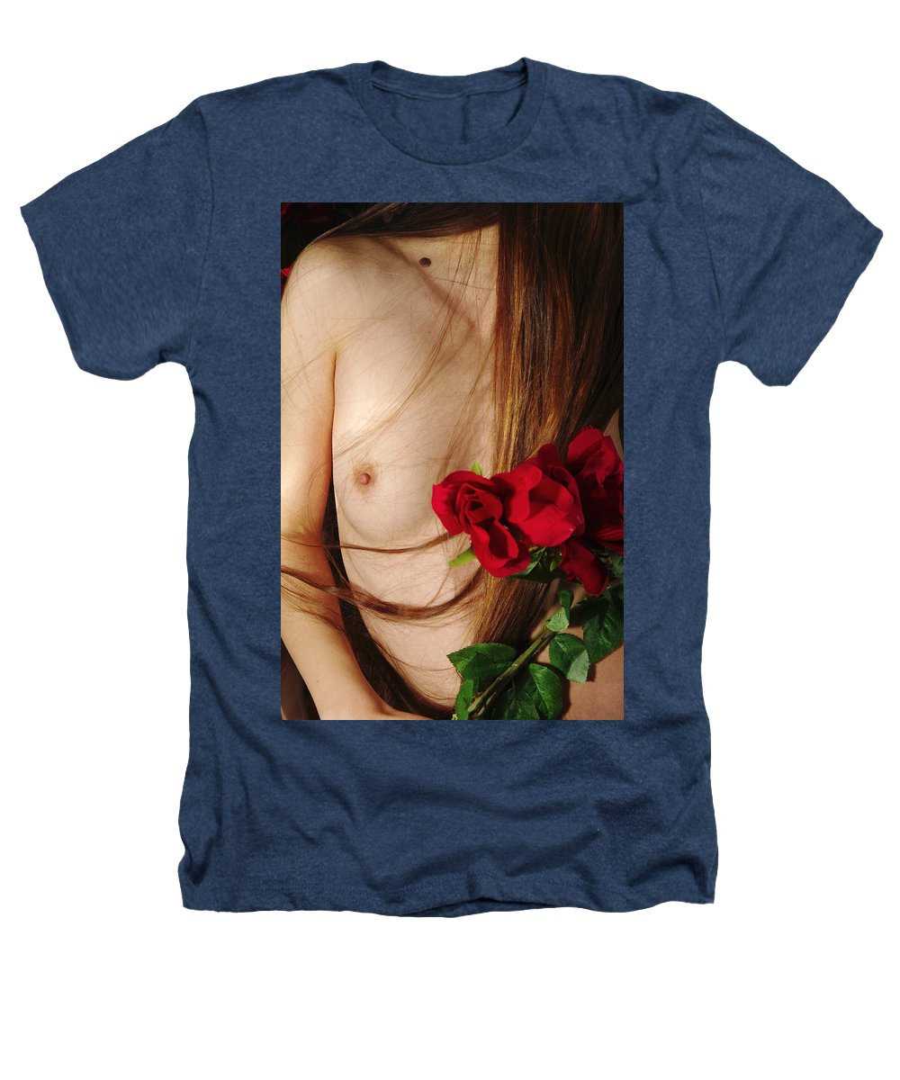 Female Nude Abstract Mirrors Flowers Photographs Heathers T-Shirt featuring the photograph Kazi1174 by Henry Butz