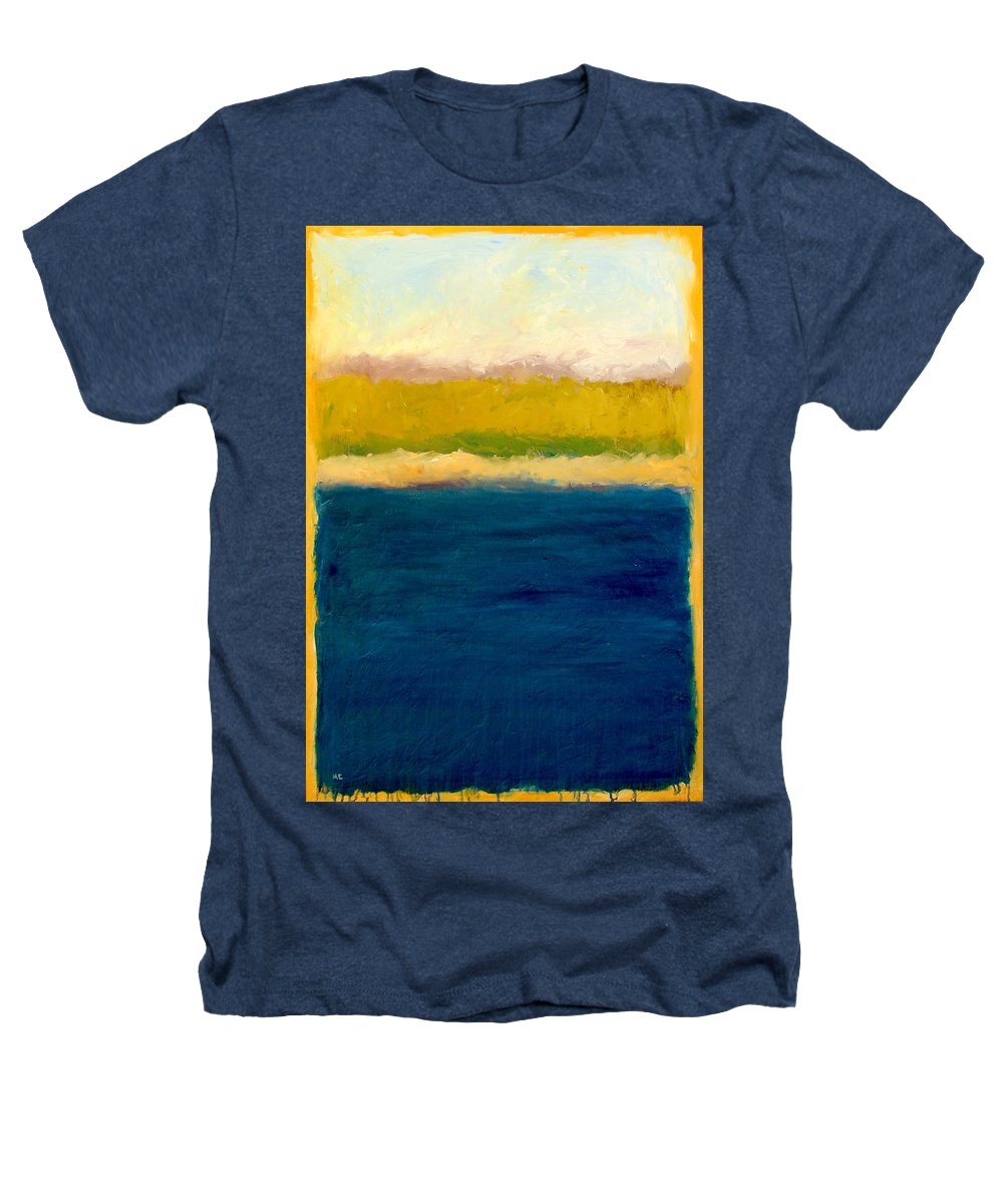 Dunes Heathers T-Shirt featuring the painting Lake Michigan Beach Abstracted by Michelle Calkins
