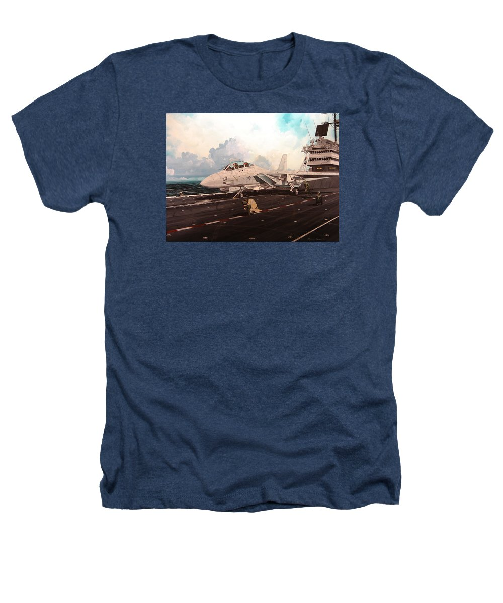 Military Heathers T-Shirt featuring the painting Launch The Alert 5 by Marc Stewart