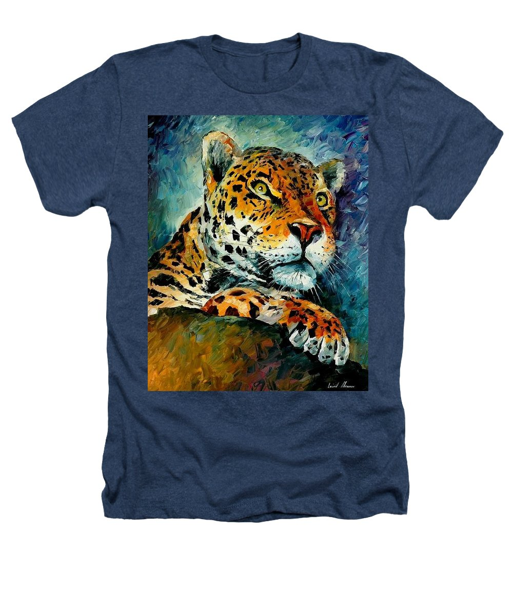 Animals Heathers T-Shirt featuring the painting Leopard by Leonid Afremov