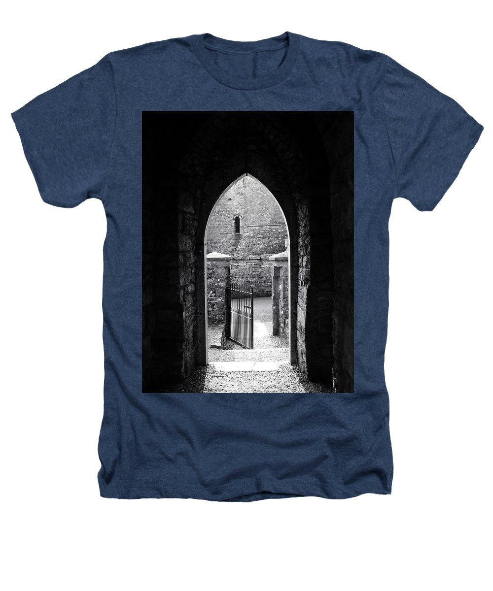 Irish Heathers T-Shirt featuring the photograph Let There Be Light Cong Church And Abbey Cong Ireland by Teresa Mucha
