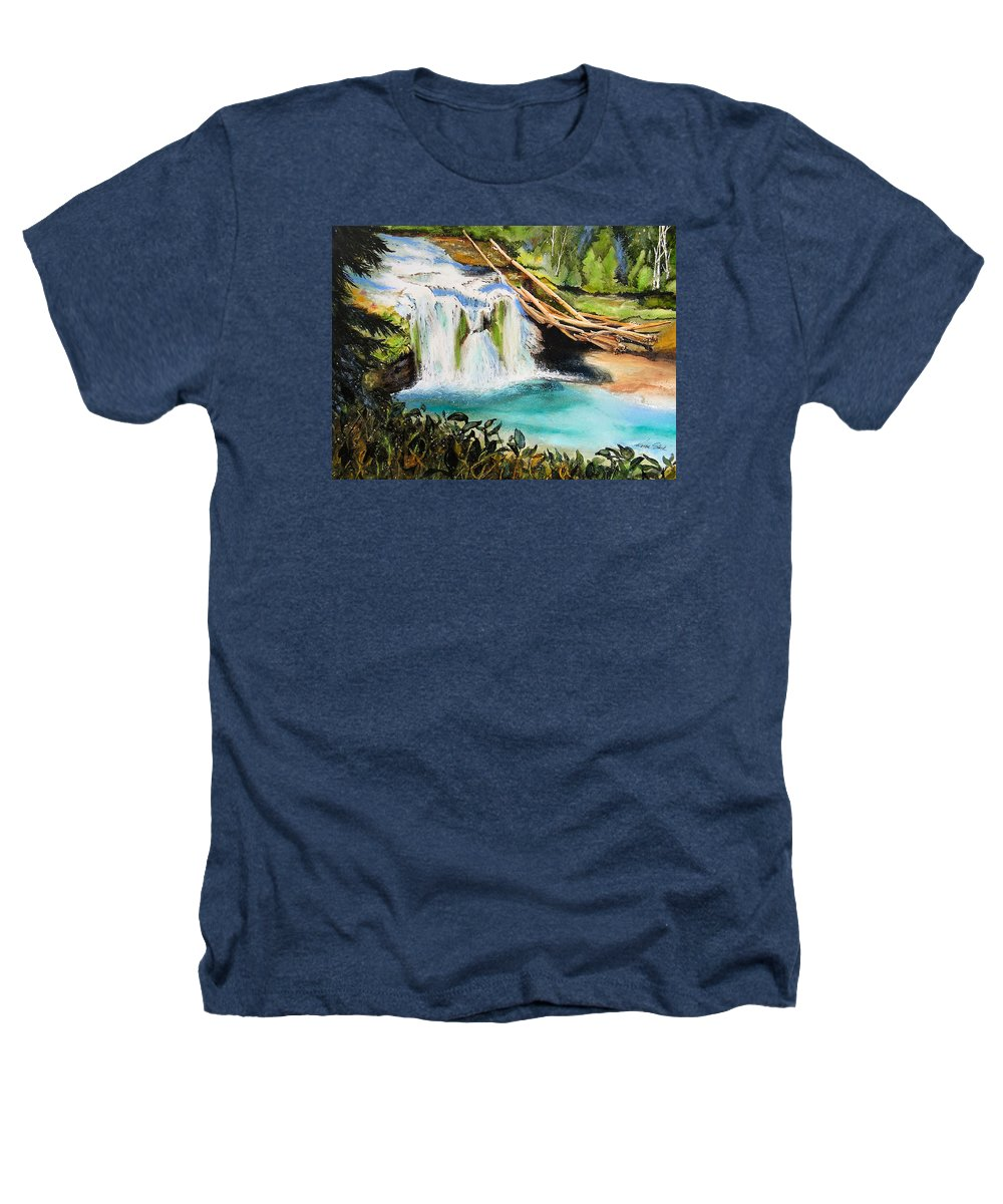 Water Heathers T-Shirt featuring the painting Lewis River Falls by Karen Stark