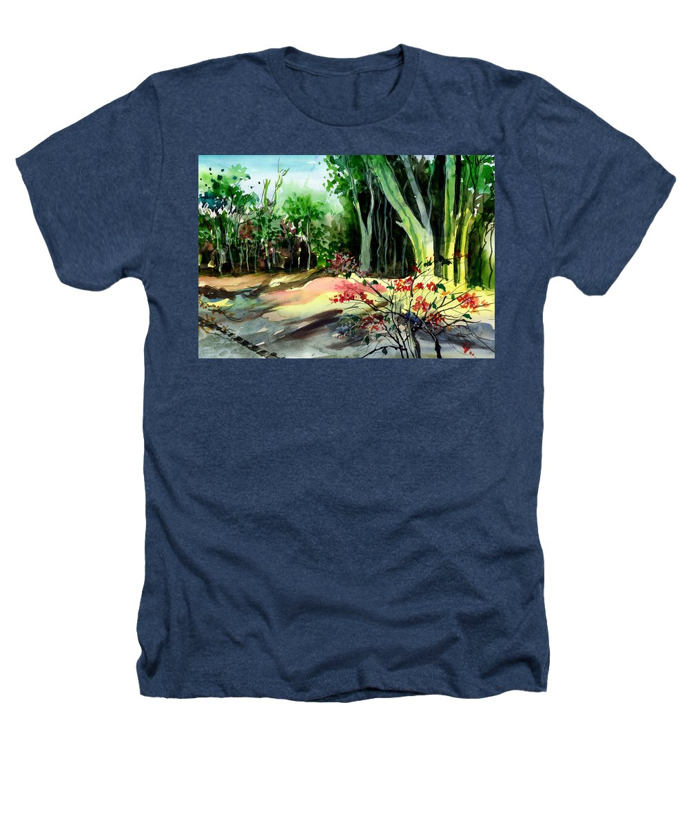 Watercolor Heathers T-Shirt featuring the painting Light In The Woods by Anil Nene