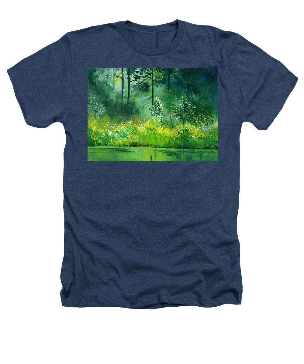 Water Heathers T-Shirt featuring the painting Light N Greens by Anil Nene
