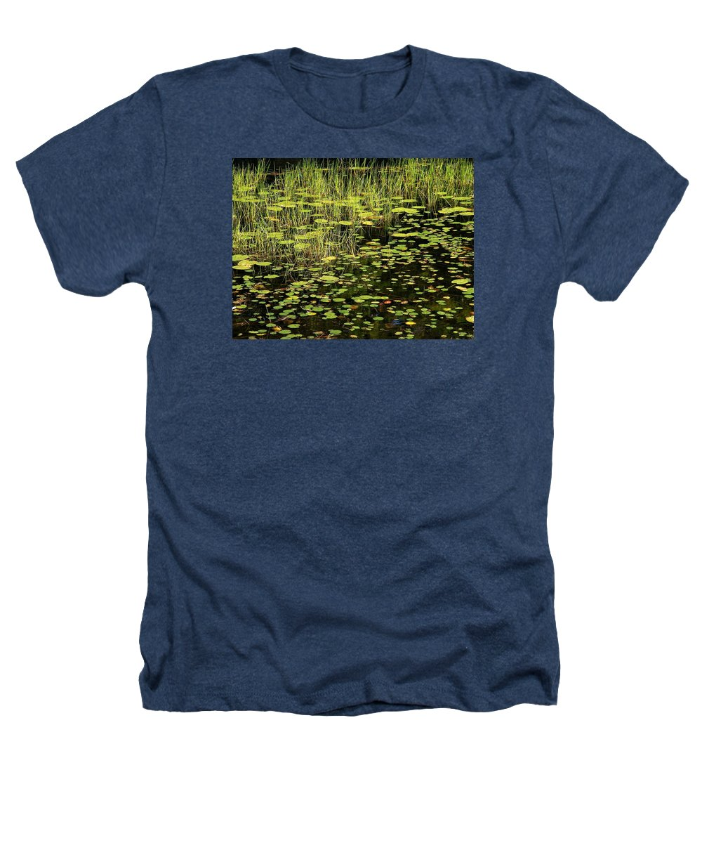 Pond Heathers T-Shirt featuring the photograph Lily Pad Place by Dave Martsolf