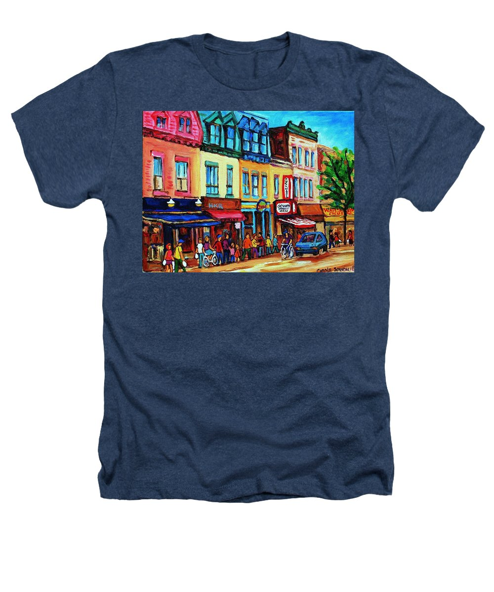 Cityscape Heathers T-Shirt featuring the painting Lineup For Smoked Meat Sandwiches by Carole Spandau