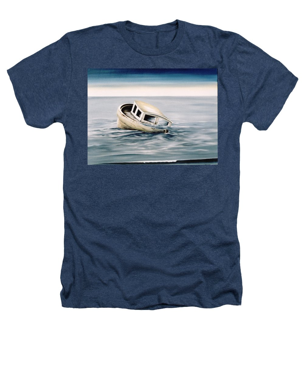Seascape Heathers T-Shirt featuring the painting Lost At Sea Contd by Mark Cawood