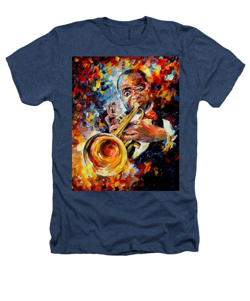 Music Heathers T-Shirt featuring the painting Louis Armstrong by Leonid Afremov