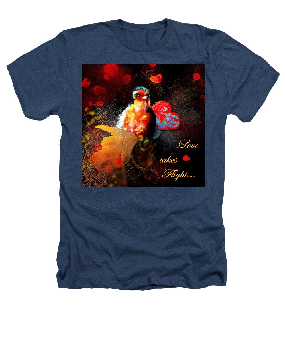 Love Heathers T-Shirt featuring the painting Love Takes Flight by Miki De Goodaboom