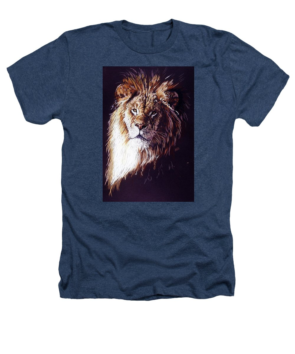 Lion Heathers T-Shirt featuring the drawing Maestro by Barbara Keith