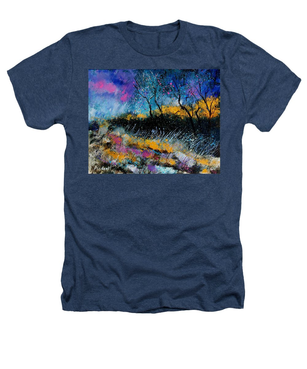 Landscape Heathers T-Shirt featuring the painting Magic Morning Light by Pol Ledent
