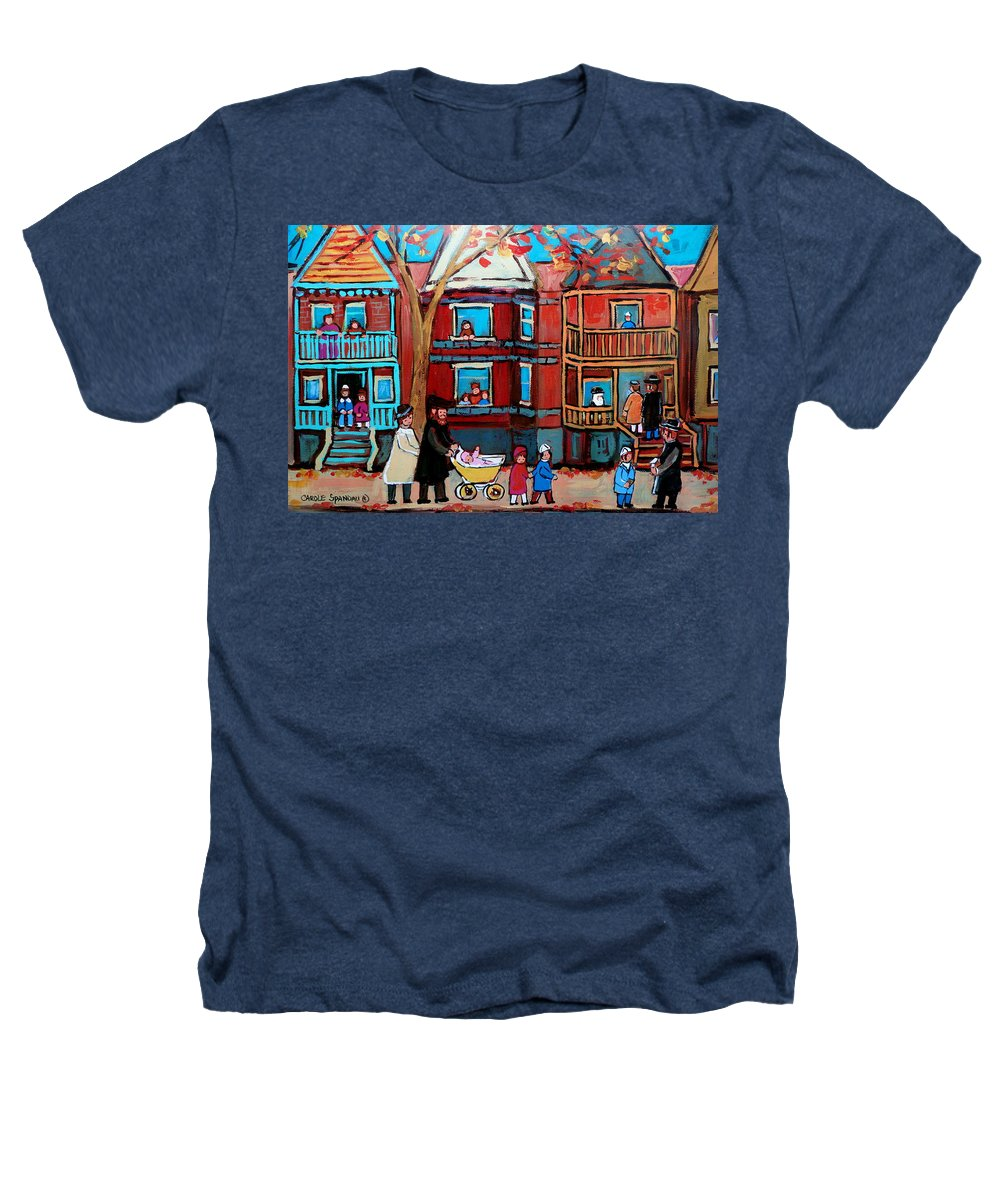 Hassidic Community Heathers T-Shirt featuring the painting Mama Papa And New Baby by Carole Spandau