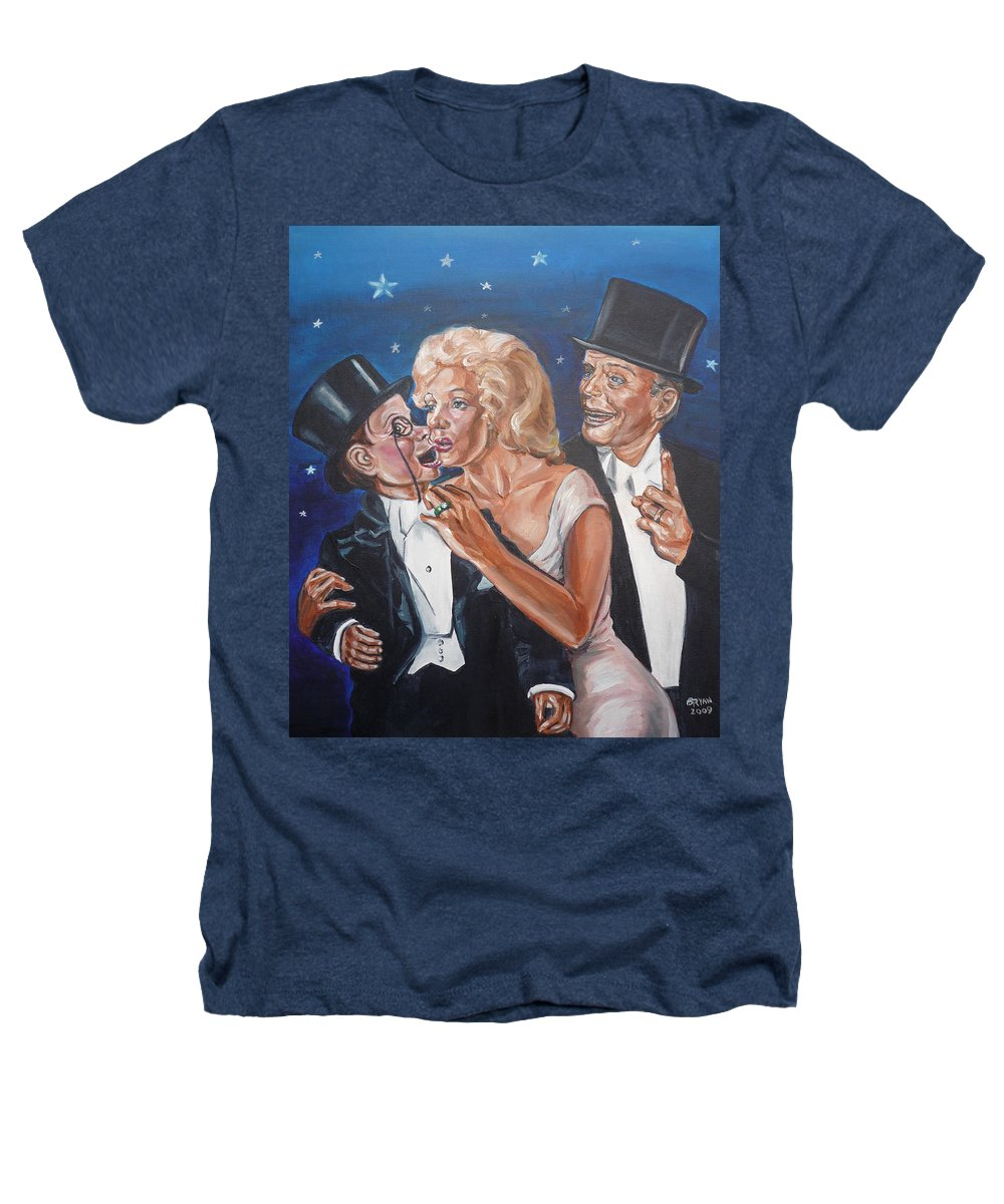 Old Time Radio Heathers T-Shirt featuring the painting Marilyn Monroe Marries Charlie Mccarthy by Bryan Bustard