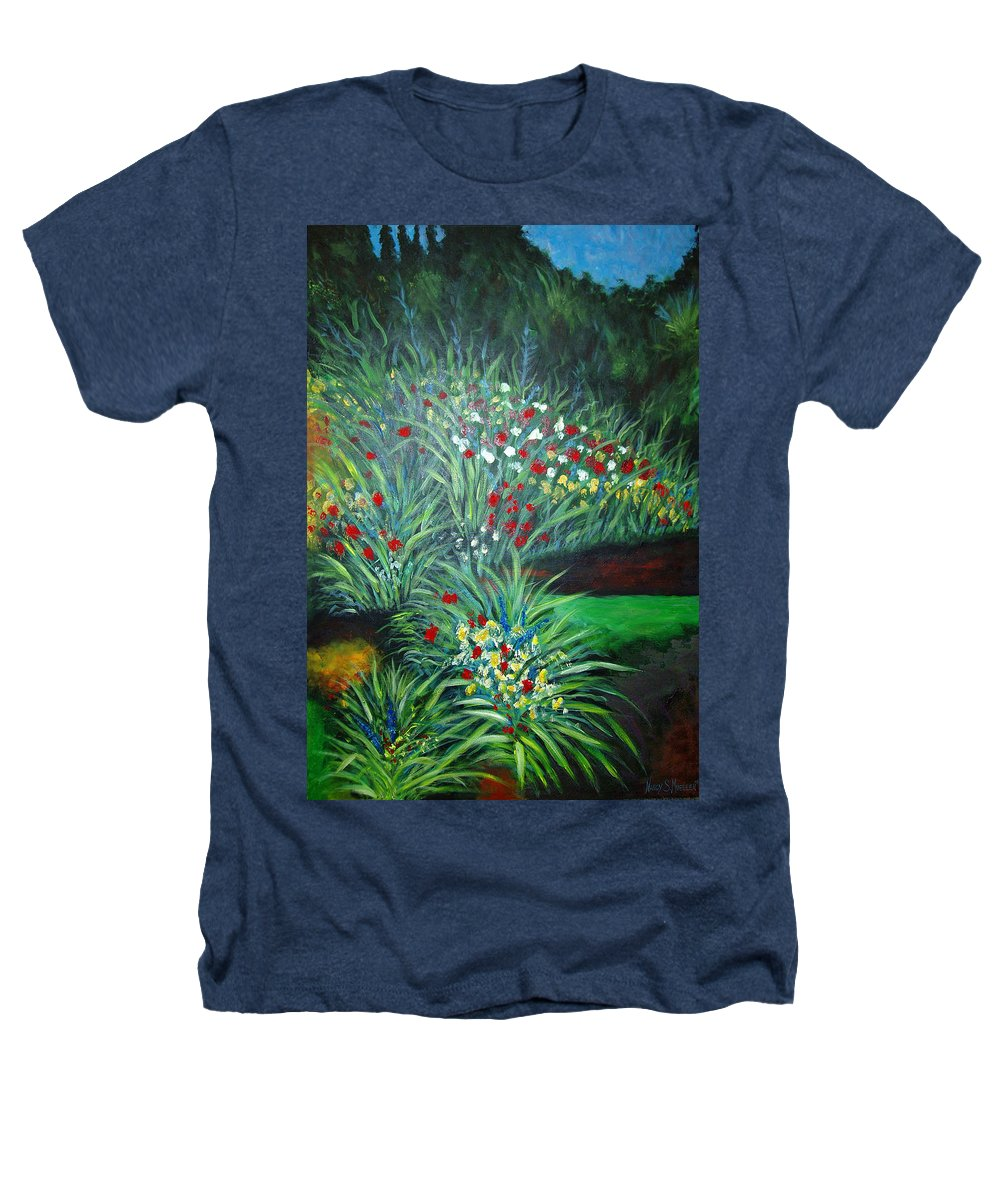 Landscape Heathers T-Shirt featuring the painting Maryann's Garden 3 by Nancy Mueller