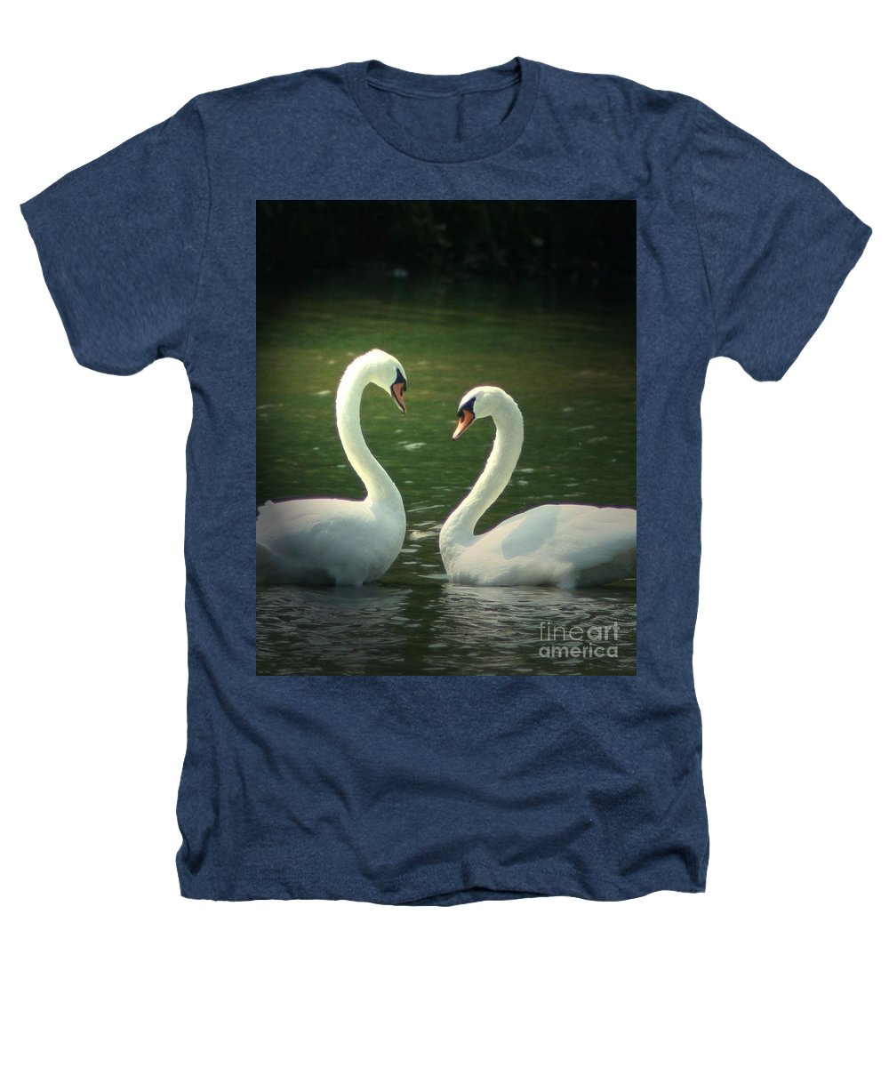 Nature Wildlife Ohio Waterscape Landscape Swans Lake Pond Heathers T-Shirt featuring the photograph Mates For Life by Dawn Downour