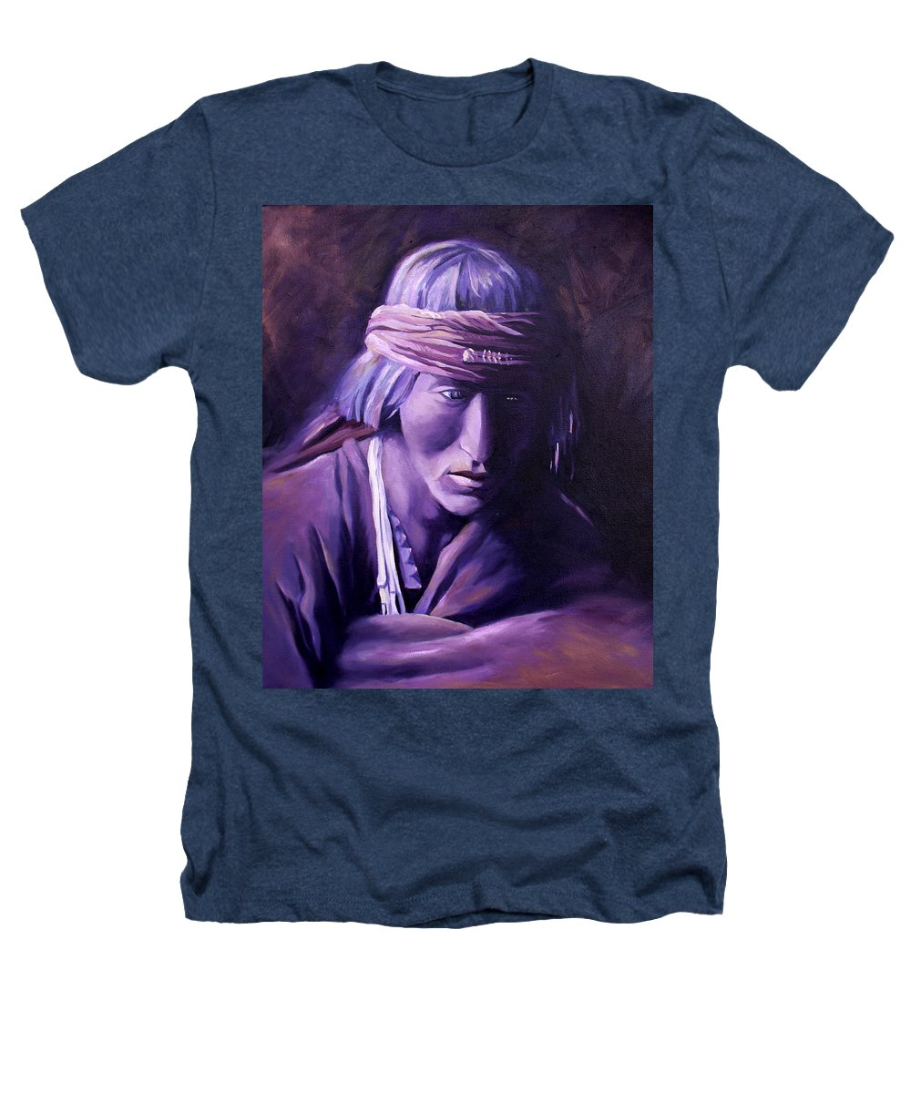 Native American Heathers T-Shirt featuring the painting Medicine Man by Nancy Griswold
