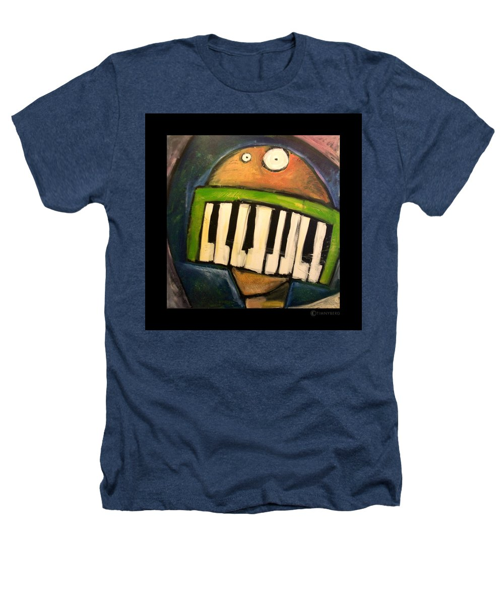 Funny Heathers T-Shirt featuring the painting Melodica Mouth by Tim Nyberg