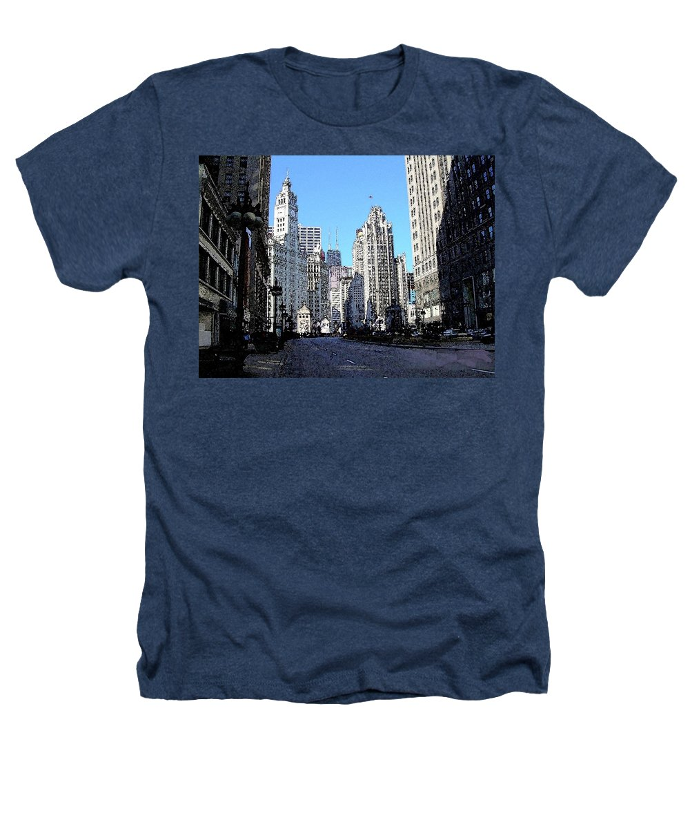 Chicago Heathers T-Shirt featuring the digital art Michigan Ave Wide by Anita Burgermeister