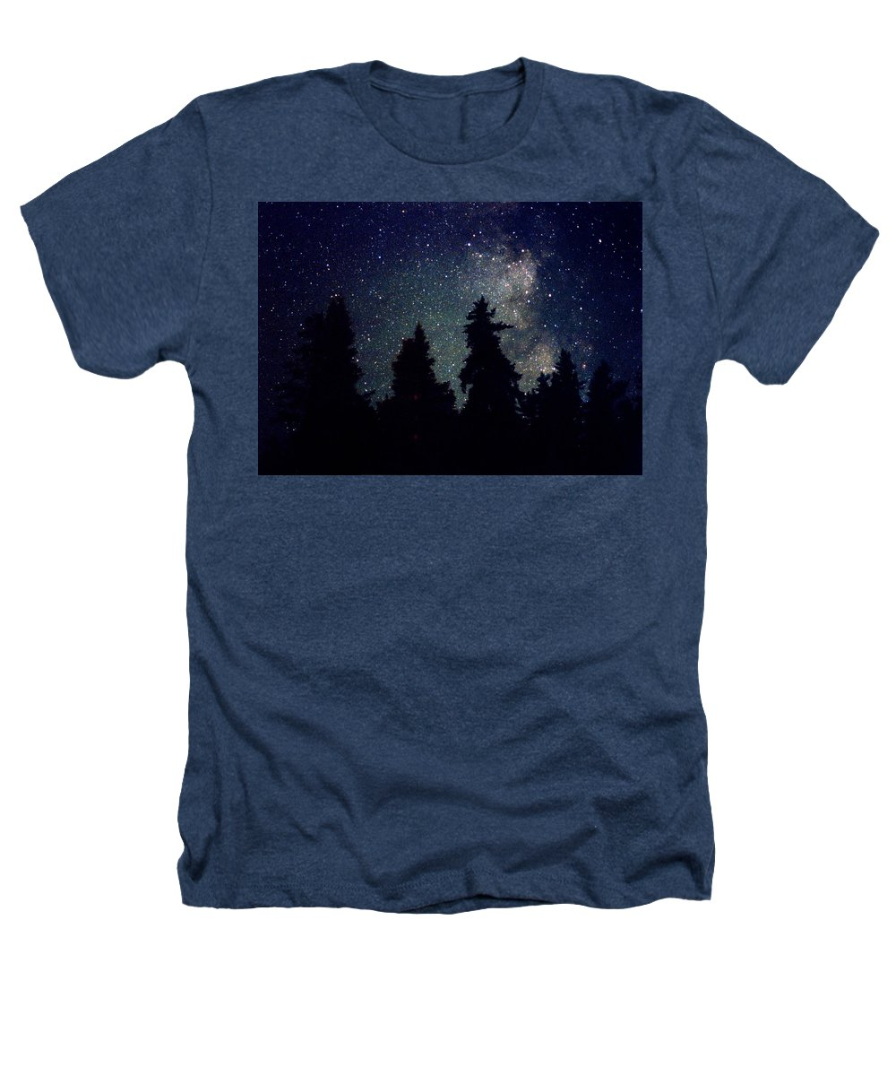 Milky Way Heathers T-Shirt featuring the photograph Milky Way Above Northern Forest 22 by Lyle Crump
