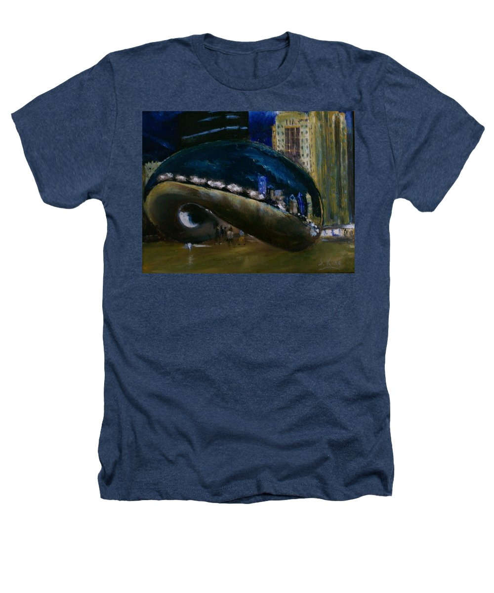 Cityscape Heathers T-Shirt featuring the painting Millennium Park - Chicago by Stephen King