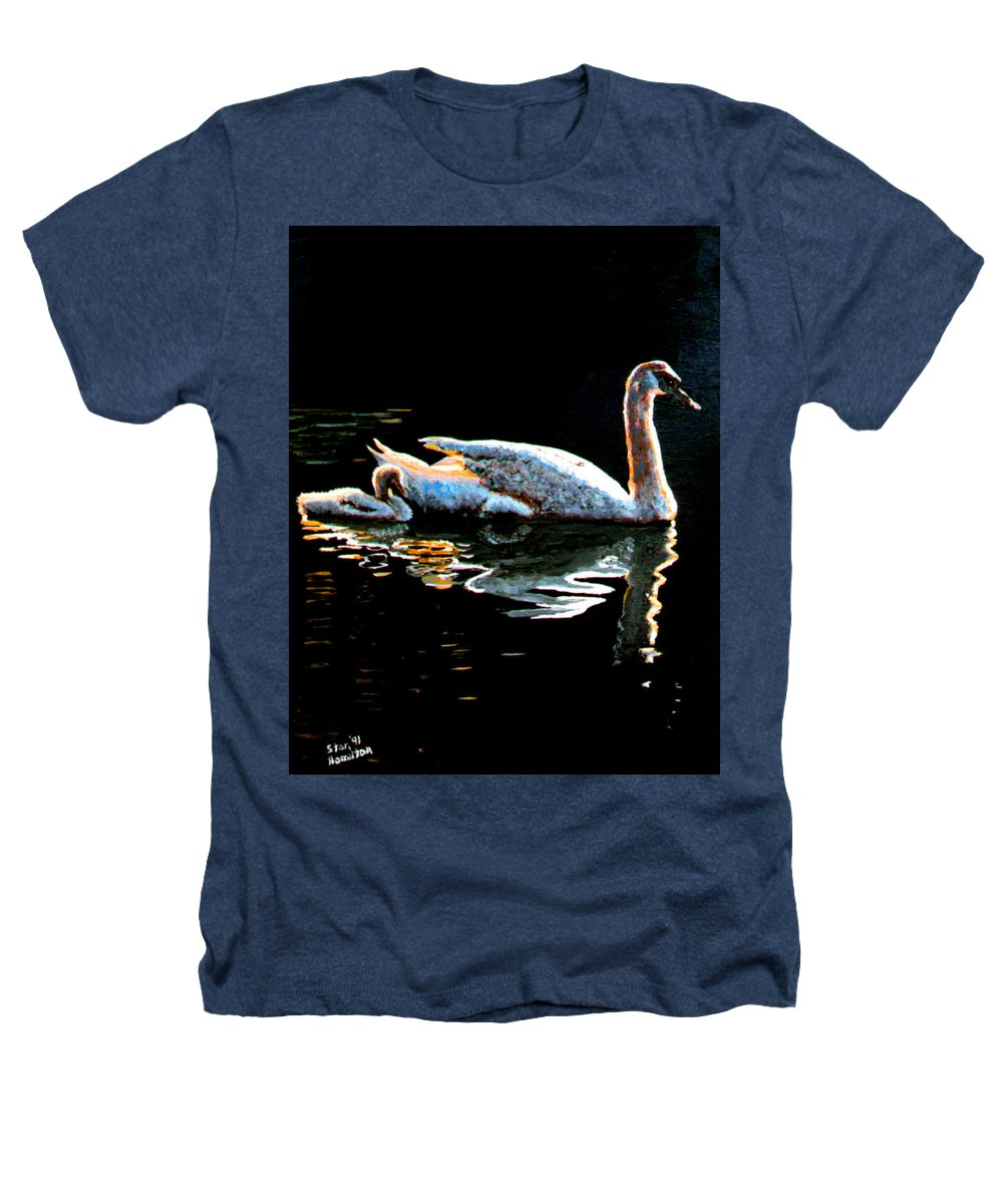 Swan Heathers T-Shirt featuring the painting Mom And Baby Swan by Stan Hamilton