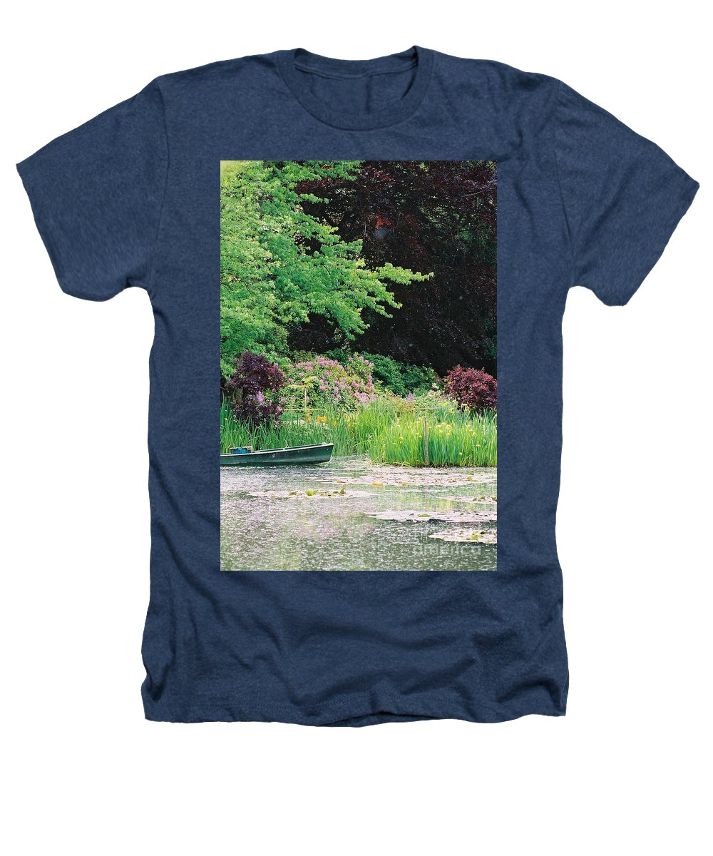 Monet Heathers T-Shirt featuring the photograph Monet's Garden Pond And Boat by Nadine Rippelmeyer