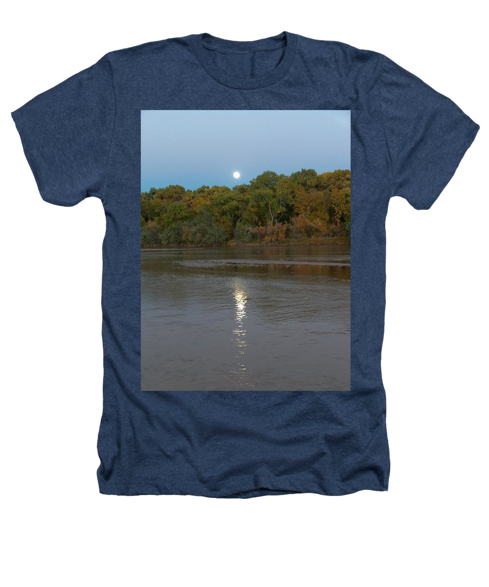 Moonlight Heathers T-Shirt featuring the photograph Moonlight On The Rio Grande by Tim McCarthy