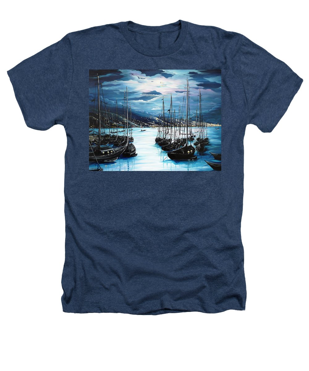 Ocean Painting  Caribbean Seascape Painting Moonlight Painting Yachts Painting Marina Moonlight Port Of Spain Trinidad And Tobago Painting Greeting Card Painting Heathers T-Shirt featuring the painting Moonlight Over Port Of Spain by Karin Dawn Kelshall- Best
