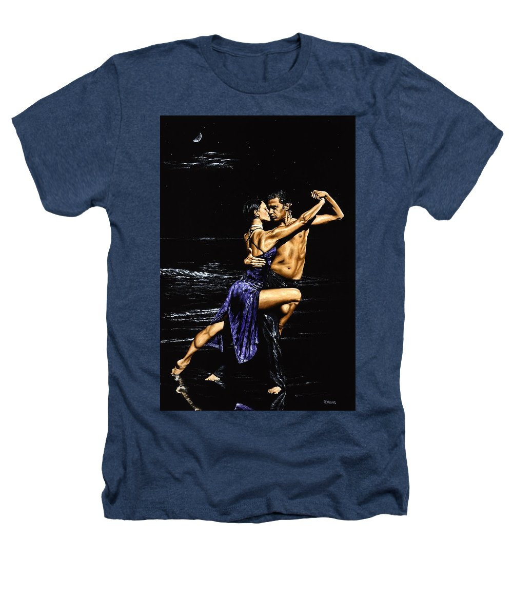 Moonlight Heathers T-Shirt featuring the painting Moonlight Tango by Richard Young